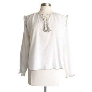 Flannel Embroidered Long Sleeve Tassel Tie Top 1